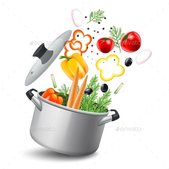 Casserole with Vegetables Illustration  - Food Objects