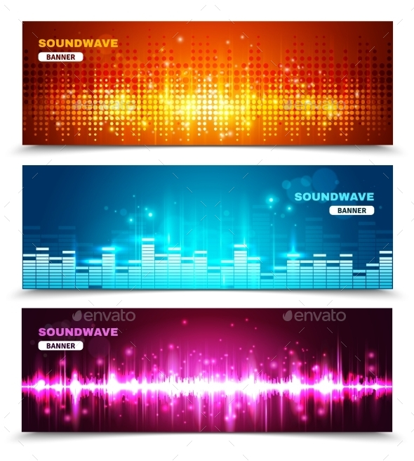 Equalizer Sound Waves Display Banners Set  - Backgrounds Decorative