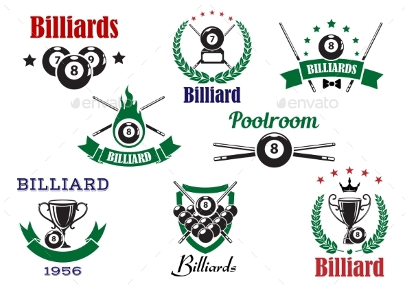 Billiards Sports Heraldic Icons And Elements - Sports/Activity Conceptual