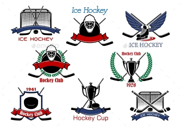 Ice Hockey Cup Heraldic Emblems - Sports/Activity Conceptual