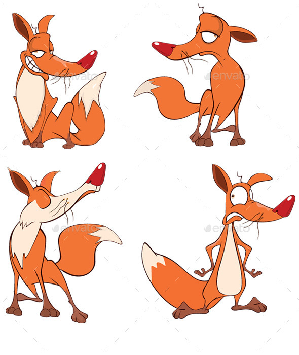 Vector Ilustration of a Set Funny Foxes - Animals Characters
