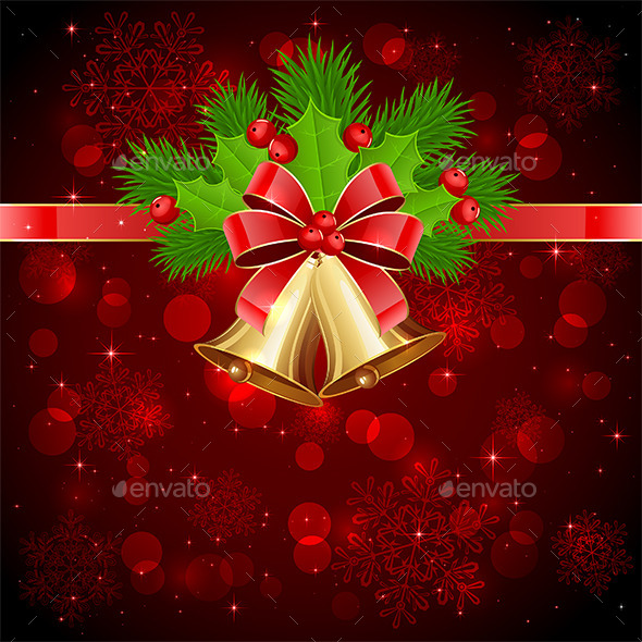 Christmas Decorations on Red Starry Background