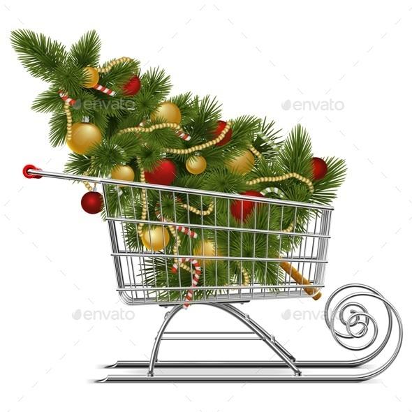 Vector Supermarket Sled with Christmas Tree - Christmas Seasons/Holidays
