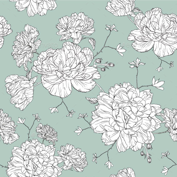 Line Floral Design Pattern - Vectors