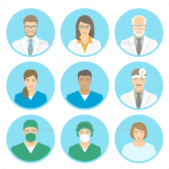 Medical Clinic Staff Flat Avatars - People Characters