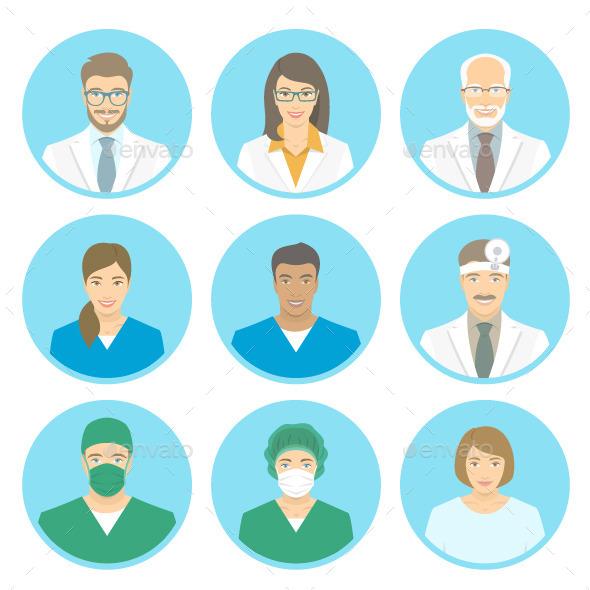 Medical Clinic Staff Flat Avatars