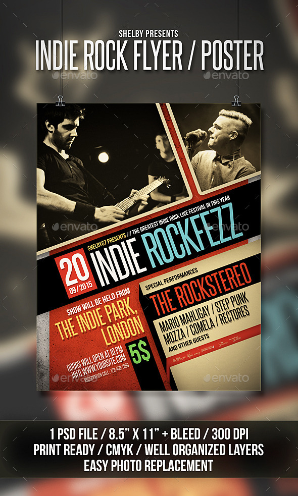 Indie Rock Flyer Poster