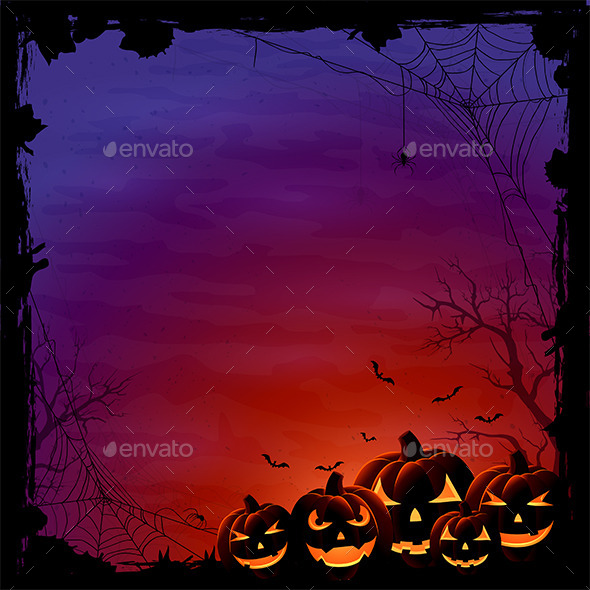 Halloween Background with Pumpkins and Spiders