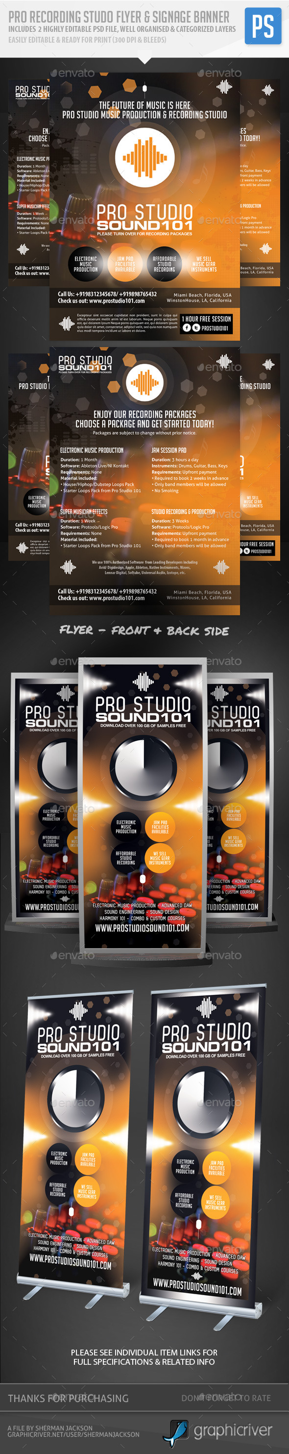 Recording Studio / Music Flyer & Signage Banner  - Miscellaneous Events