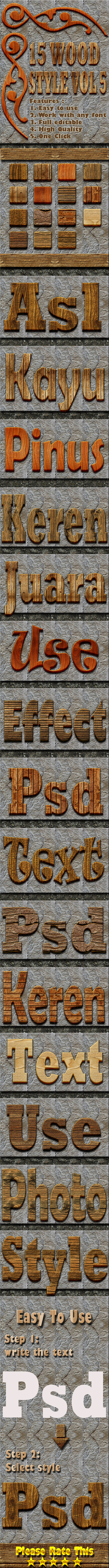15 Wood Text Effect Style Vol 7 - Styles Photoshop