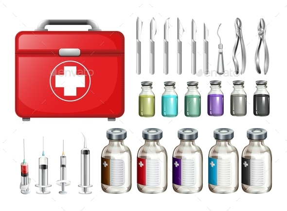 Medical Equiments and Firstaid Box - Miscellaneous Conceptual