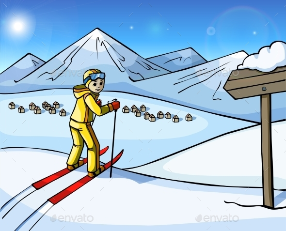 Skier In The Mountains - Sports/Activity Conceptual