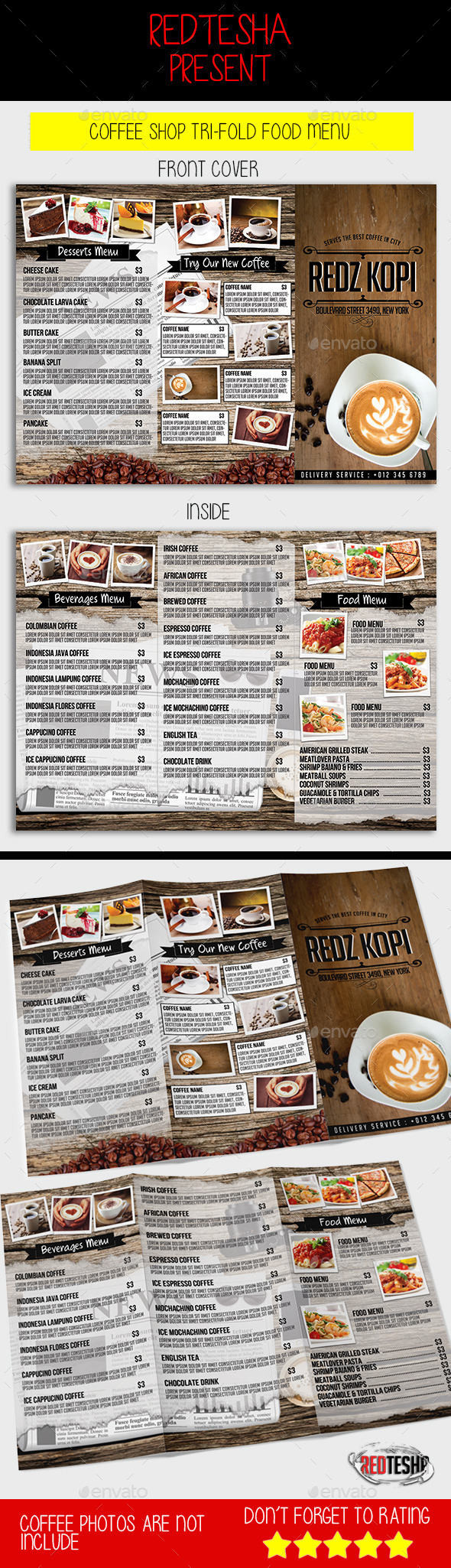 Coffee Shop Tri-fold Menu
