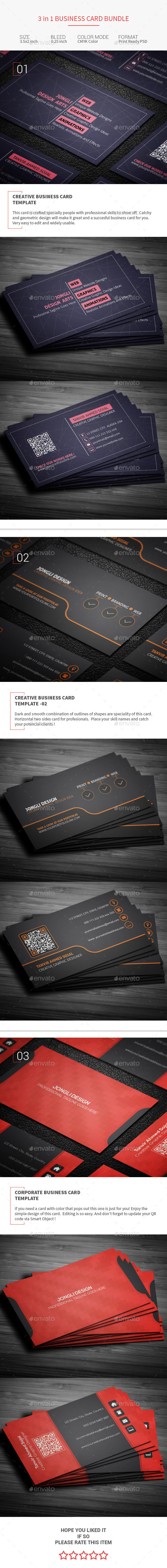 3 in 1 Business Card Bundle - Corporate Business Cards