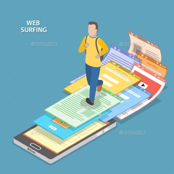 Web Surfing Isometric Flat Vector Concept.  - Web Technology