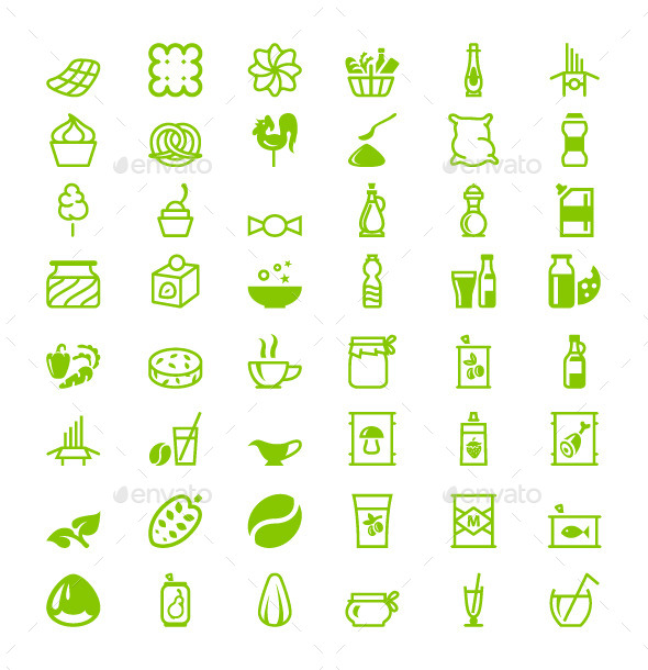 Green Icons Food - Objects Vectors