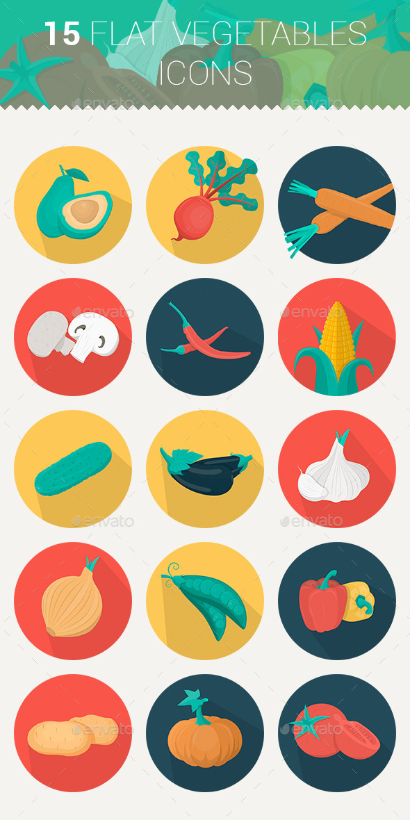 Flat Icons Vegetables Set - Food Objects