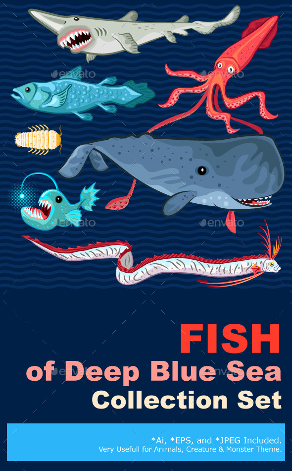 Fish Of The Deep Blue Sea Collection Set - Monsters Characters