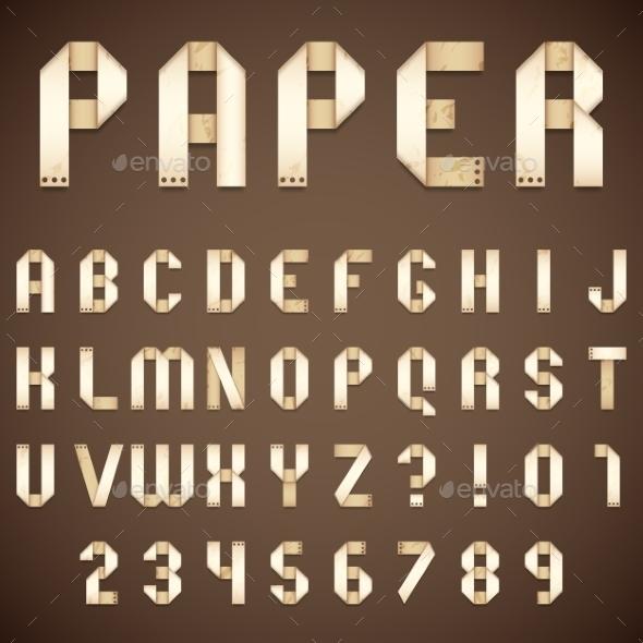 Old Paper Folded Font - Decorative Vectors