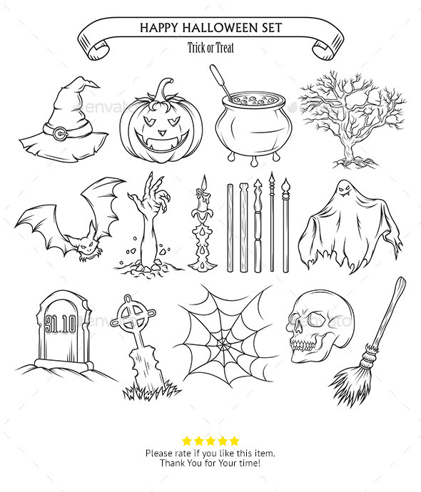 Halloween Design Elements Set - Decorative Symbols Decorative