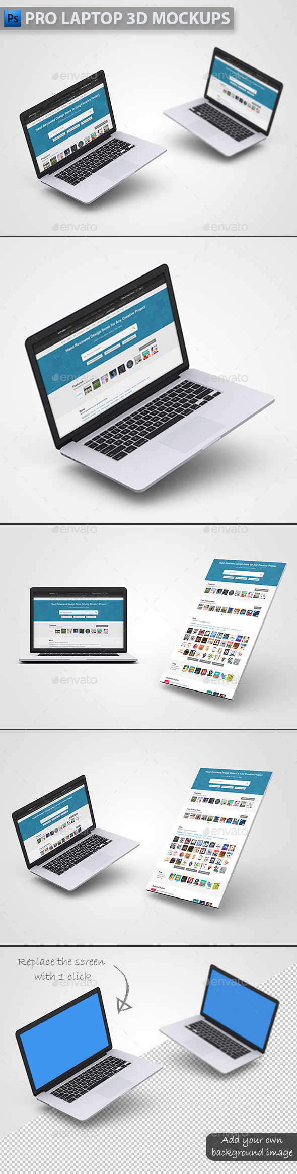 Pro Laptop 3D Mockups - Laptop Displays