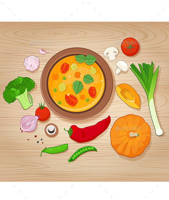 Vegetable Soup and Ingredients on Wooden Backgroun - Food Objects