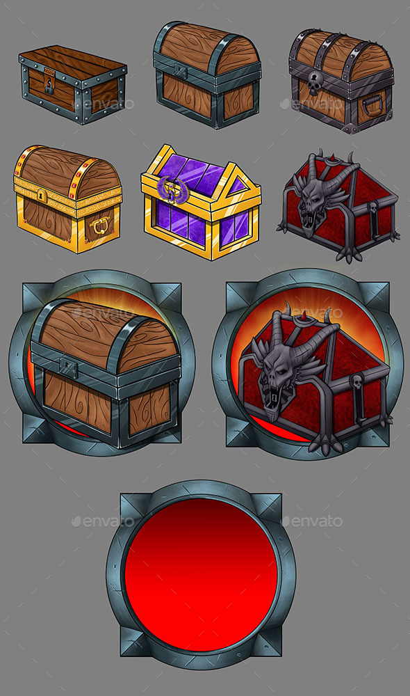 Treasure Chest Icons - Miscellaneous Game Assets