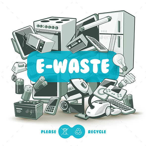 Grey E-waste with Blue Sign Board