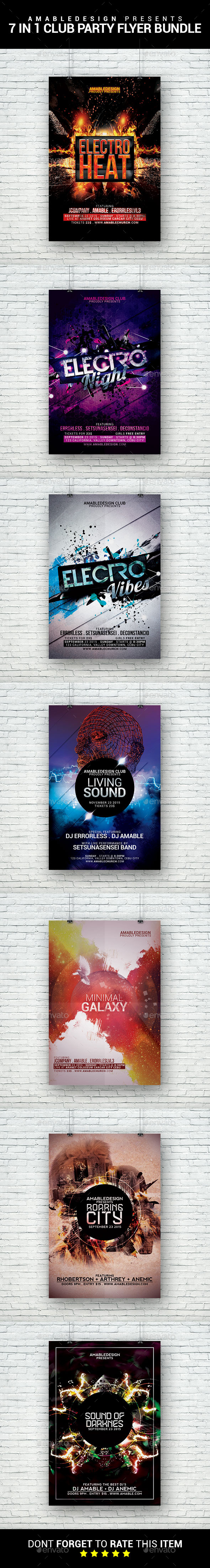 7 in 1 Club Parties Flyer Bundle - Clubs & Parties Events