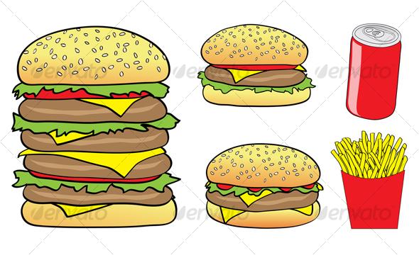 fast food cartoon - Food Objects