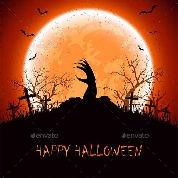 Halloween Background with Hand - Halloween Seasons/Holidays