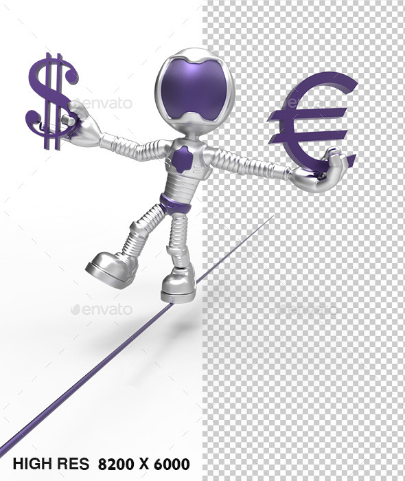 3D Silver Astronaut  Holding Dollar Sign - Characters 3D Renders