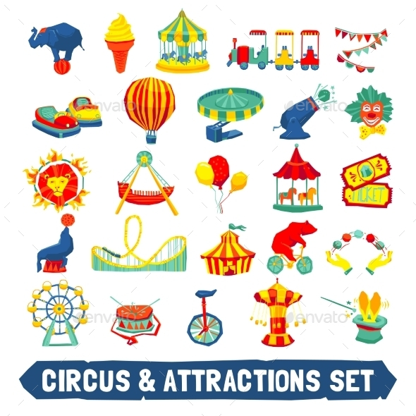 Circus Icons Set - Miscellaneous Vectors