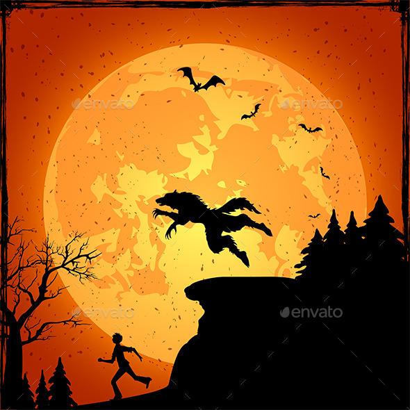 Werewolf and Running Man - Halloween Seasons/Holidays