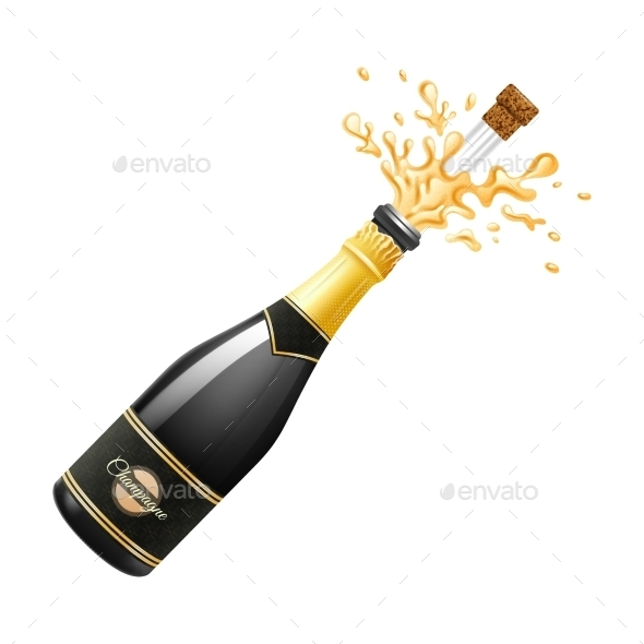 Champagne Explosion Illustration  - Food Objects