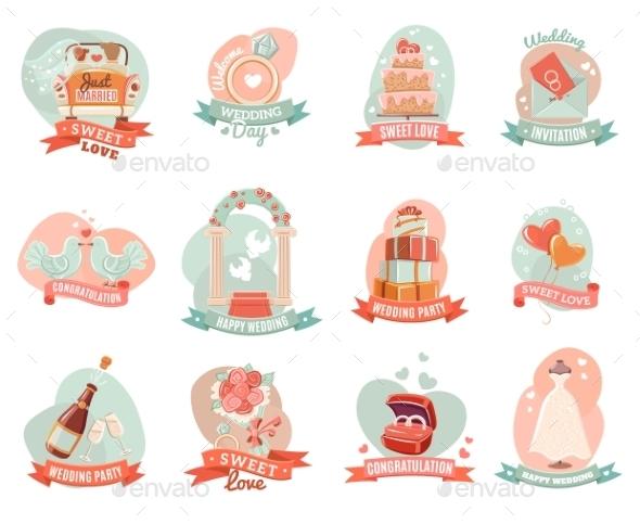 Wedding Marriage Engagement Emblems Stickers Set - Weddings Seasons/Holidays