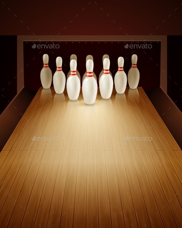 Bowling Game Realistic Illustration  - Sports/Activity Conceptual