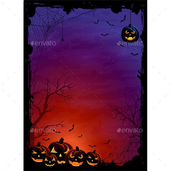 Halloween Pumpkins and Bats - Halloween Seasons/Holidays