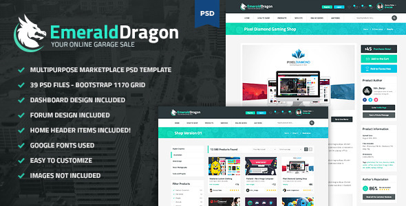 Emerald Dragon – PSD Multipurpose Marketplace