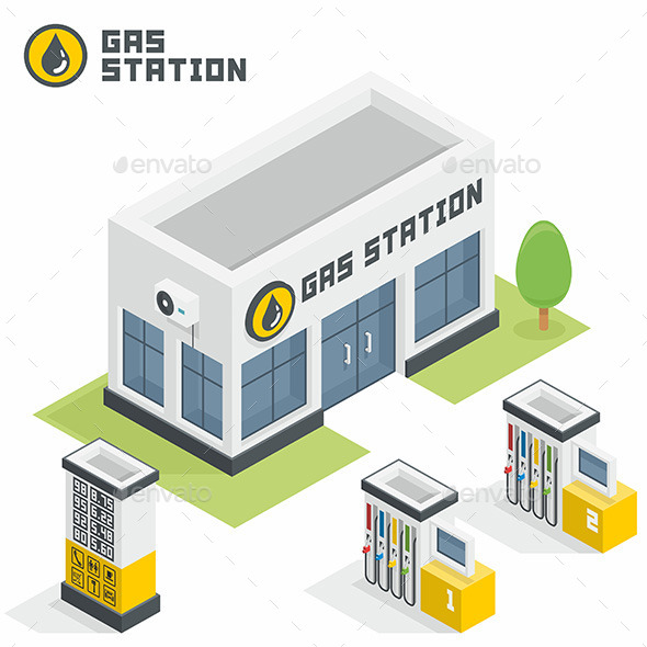Gas Station Building - Buildings Objects