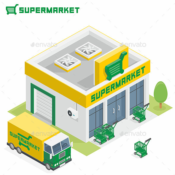 Supermarket Building - Buildings Objects