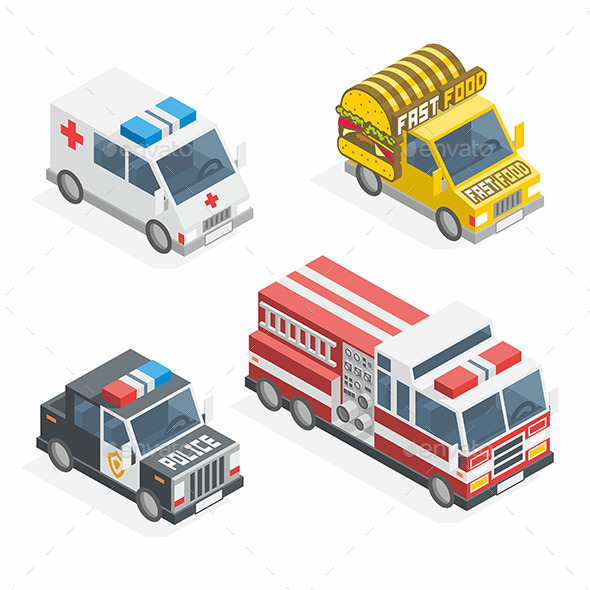 Set of the Isometric Cars - Man-made Objects Objects