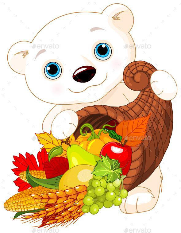 Polar Bear Holds Cornucopia - Animals Characters