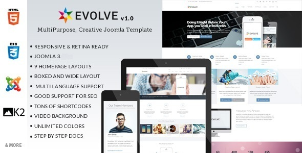 Evolve Responsive Multi-Purpose Joomla Template