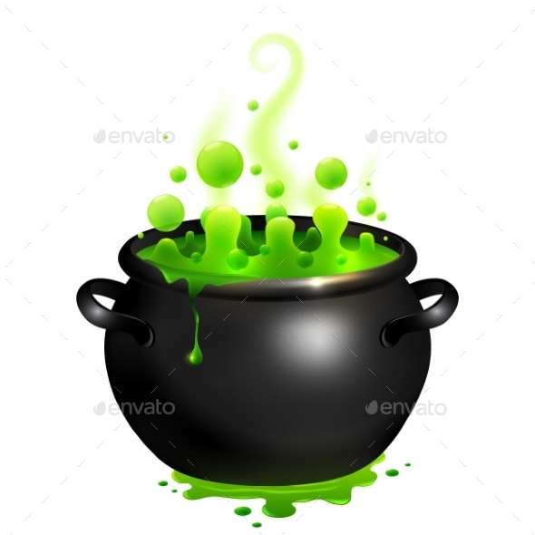 Black Vector Cauldron With Green Witches Potion