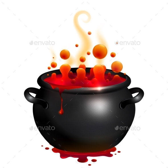 Black Vector Cauldron With Red Witches Potion