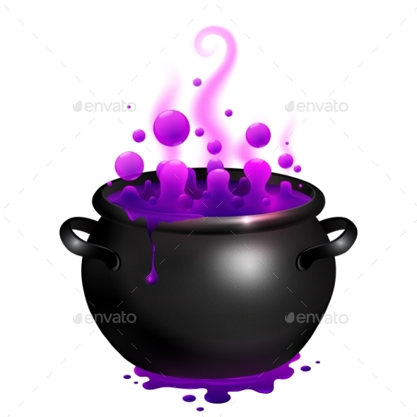 Black Vector Cauldron With Purple Witches Magic - Halloween Seasons/Holidays