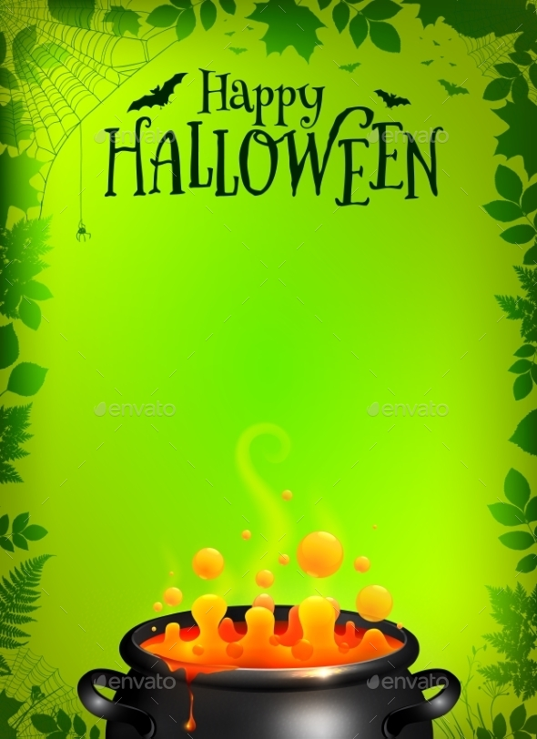 Green Halloween Poster Template With Orange Potion - Halloween Seasons/Holidays
