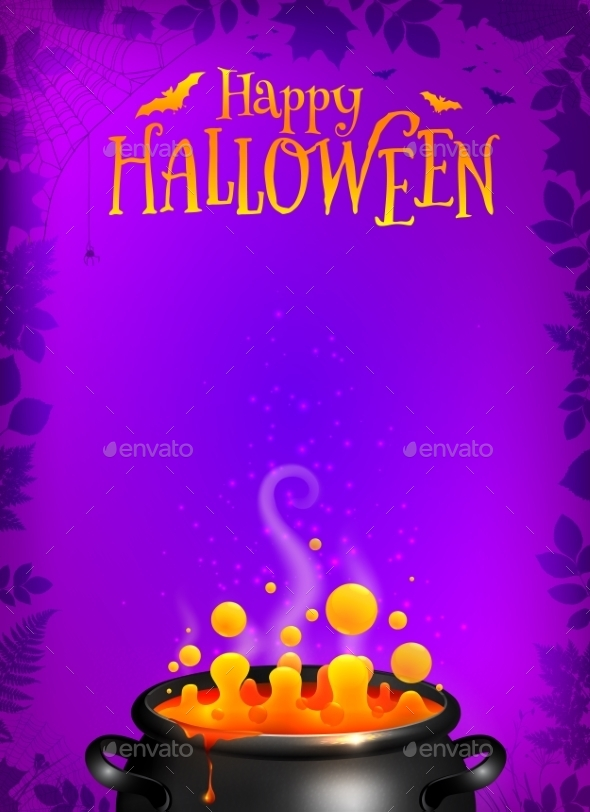 Purple Halloween Poster Template With Orange