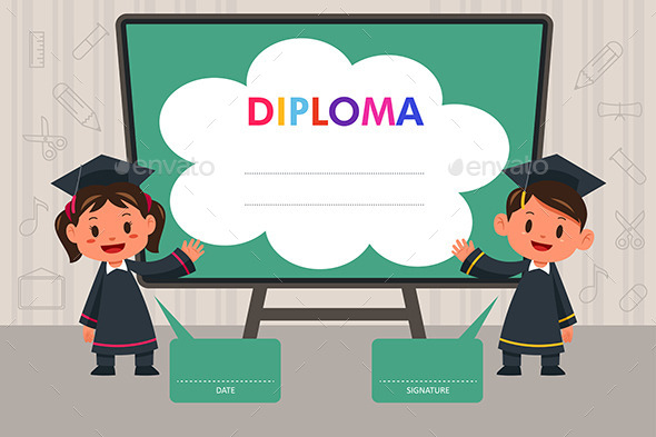 Children with Diploma Template - People Characters